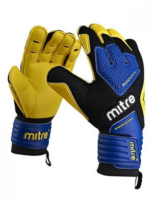 Перчатки вратарские MITRE BRZ Academy взрослые. Цвет: желтый, черный, синий
