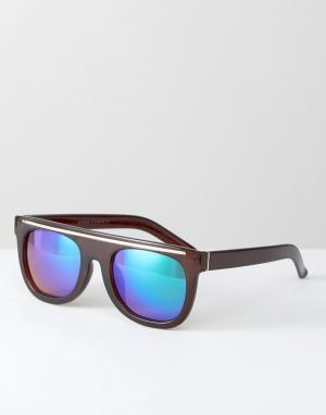 7X Солнцезащитные очки в черепаховой оправе с плоским верхом. Цвет: коричневый