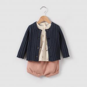 Комплект: жилет, блузка и шаровары  0 мес-2 лет R mini. Цвет: темно-синий/розовый