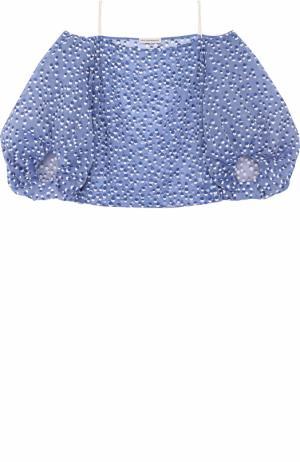 Шелковый топ с круглым вырезом и объемными рукавами Vika Gazinskaya. Цвет: синий