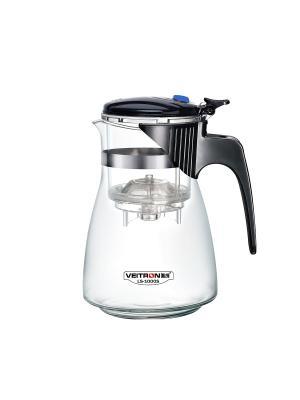 Стеклянный заварочный чайник Veitron с кнопкой, 1000 мл, артикул LS-1000S. Цвет: черный