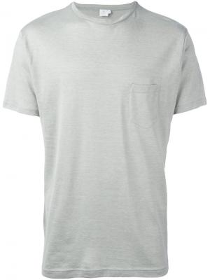 Crew neck pocket T-shirt Sunspel. Цвет: зелёный