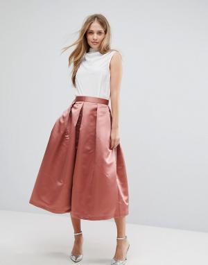 Closet London Пышная атласная юбка миди для выпускного. Цвет: оранжевый