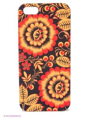 Чехол для IPhone 5 Хохлома Mitya Veselkov. Цвет: черный, оранжевый