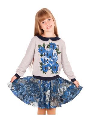 Комплект: кофточка, юбка Синяя роза Апрель. Цвет: бежевый, голубой, серый