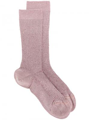 Носки с логотипом и люрексом Dsquared2. Цвет: розовый и фиолетовый