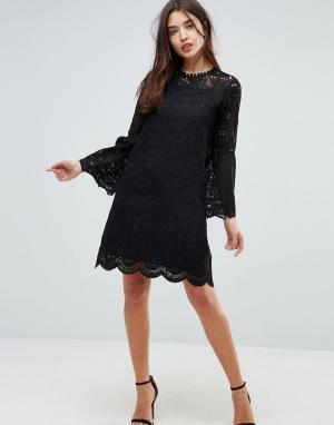 Uttam Boutique Кружевное платье с рукавами клеш. Цвет: черный