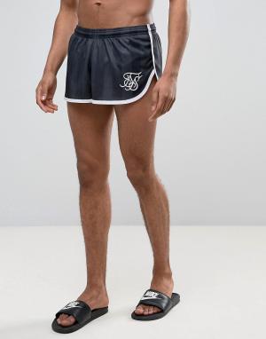 SikSilk Черные шорты для плавания в стиле ретро с кантом. Цвет: черный