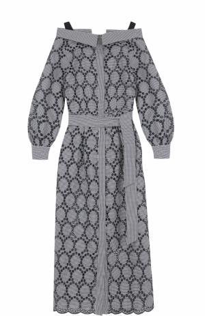 Кружевное платье с открытыми плечами и поясом Erika Cavallini. Цвет: синий