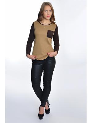 Блузка RISE. Цвет: горчичный, темно-коричневый