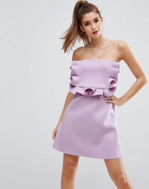 ASOS Платье-бандо мини с оборками PREMIUM. Цвет: фиолетовый