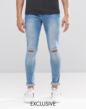 Brooklyn Supply Co. Светлые рваные супероблегающие джинсы Co Dyker. Цвет: синий