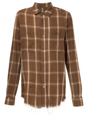 Рубашка в клетку Amiri. Цвет: коричневый