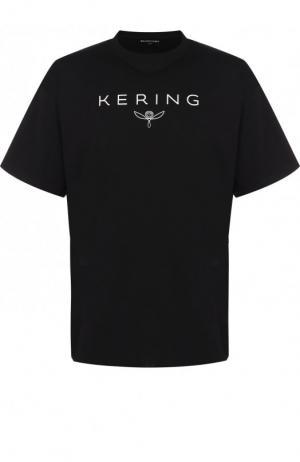 Хлопковая футболка свободного кроя Balenciaga. Цвет: черный