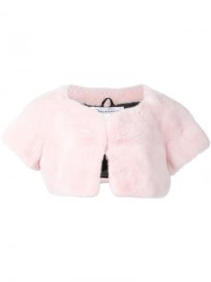 Укороченный пиджак из меха норки Oscar de la Renta. Цвет: розовый и фиолетовый