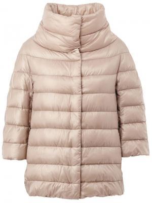 Куртка-пуховик с укороченными рукавами Herno. Цвет: телесный