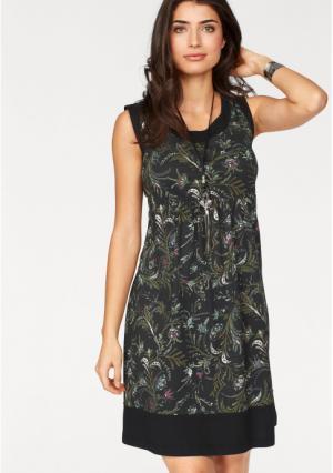 Платье BOYSENS BOYSEN'S. Цвет: бежевый/серый с рисунком, темно-синий/сиреневый с рисунком