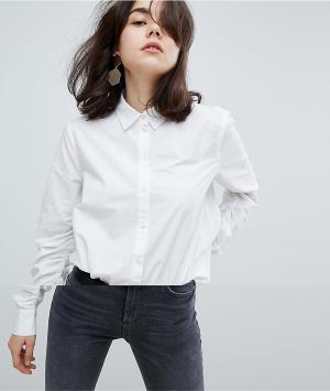 Pieces Рубашка на пуговицах с оборками. Цвет: белый
