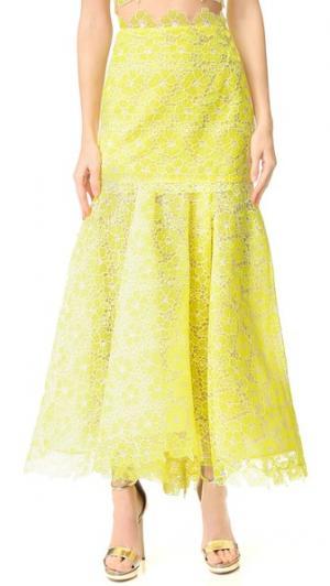 Кружевная юбка-годе Monique Lhuillier. Цвет: лимон