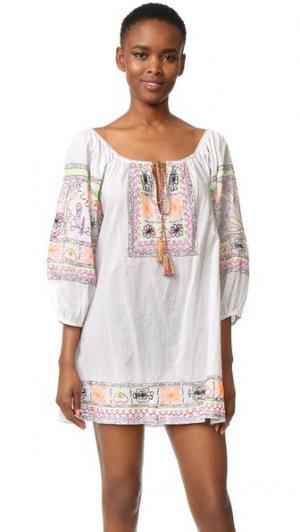 Пляжное платье с вышивкой Juliet Dunn. Цвет: белый/неоновый мульти