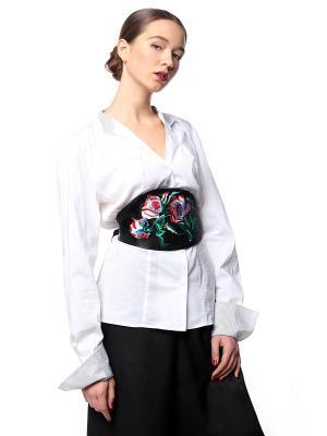 Пояс Оби черный Роза кустовая бело-красная SEANNA. Цвет: черный, зеленый