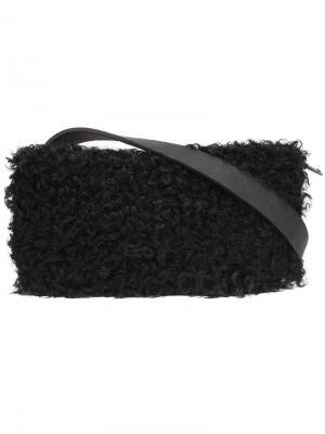 Поясная сумка с меховой деталью Urban Zen. Цвет: чёрный
