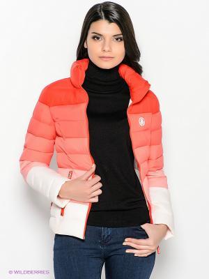 Куртка Oodji. Цвет: красный, коралловый, белый, бледно-розовый