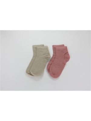 Носки, 2 пары Гамма. Цвет: бежевый, коралловый