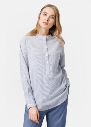 Рубашка-туника в полоску OSTIN. Цвет: небесно-голубой
