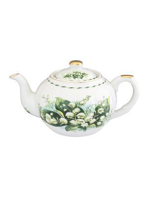 Чайник с металлическим ситом Ландыши Elan Gallery. Цвет: зеленый, белый