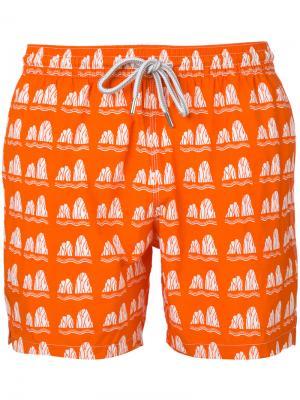 Пляжные шорты с принтом Capricode. Цвет: жёлтый и оранжевый