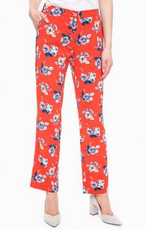 Зауженные оранжевые брюки с цветочным принтом Kocca. Цвет: цветочный принт