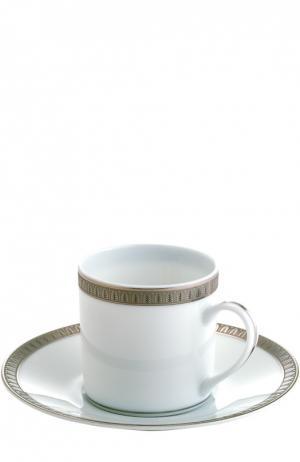 Кофейная чашка с блюдцем Malmaison Christofle. Цвет: бесцветный