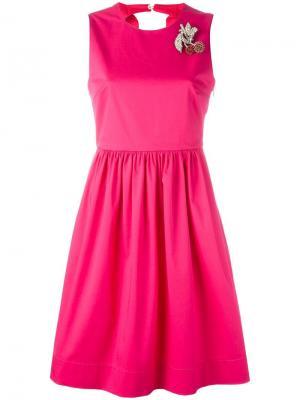 Платье с брошью в виде вишен Nº21. Цвет: розовый и фиолетовый