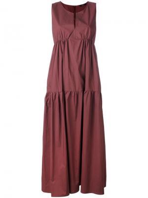 Длинное платье без рукавов Odeeh. Цвет: красный