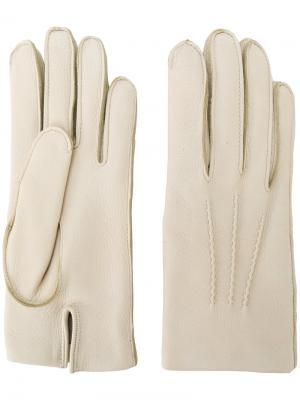 Классические перчатки Mario Portolano. Цвет: телесный