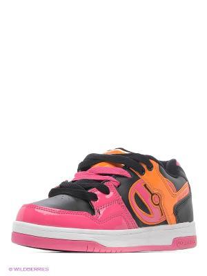Роликовые кроссовки Heelys. Цвет: розовый, черный, оранжевый