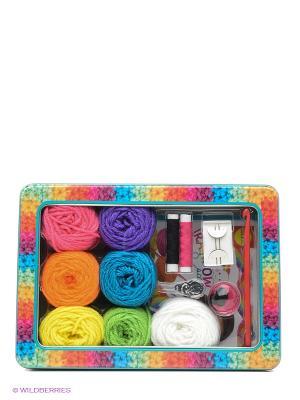 Набор для вязания крючком Радужный шарф от 8 лет Alex. Цвет: розовый