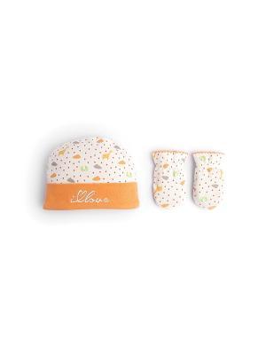 Шапочка и рукавички - антицарапки HappyBabyDays. Цвет: оранжевый