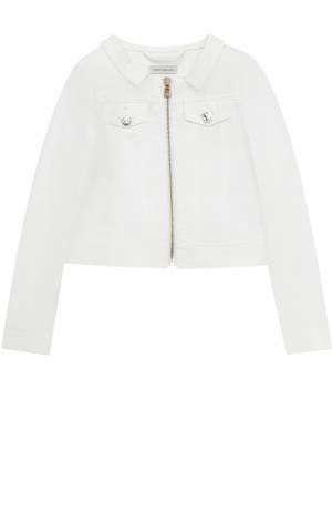 Куртка из денима с кристаллами на молнии I Pinco Pallino. Цвет: белый