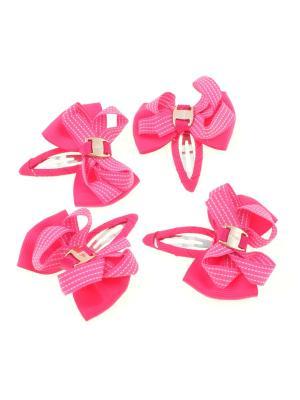 Бантики на заколке, в прерывистую полоску,  розовые, 4 шт Радужки. Цвет: розовый
