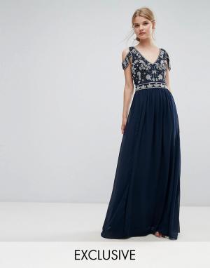 Frock and Frill Декорированное платье макси с вырезами на плечах. Цвет: темно-синий