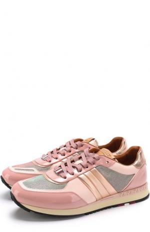 Комбинированные кроссовки Asyia на шнуровке Bally. Цвет: розовый