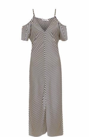Шелковое платье в полоску с открытыми плечами T by Alexander Wang. Цвет: черно-белый