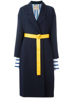 Объемное пальто Erika Cavallini. Цвет: синий