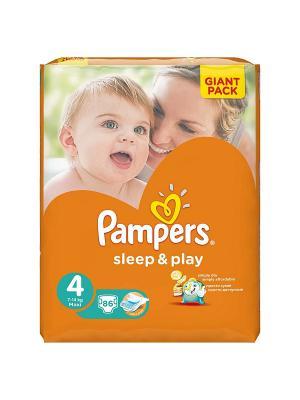 Подгузники Sleep & Play 8-14 кг, 4 размер, 86 шт. Pampers. Цвет: оранжевый
