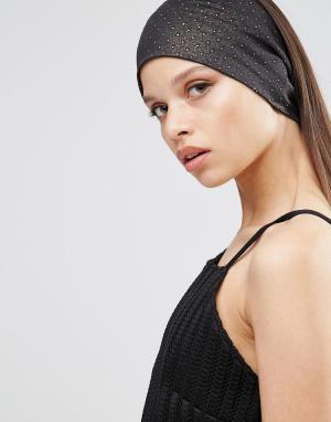 Johnny Loves Rosie Широкая повязка на голову в горошек. Цвет: черный