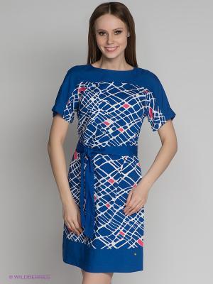 Платье Finn Flare. Цвет: синий, белый