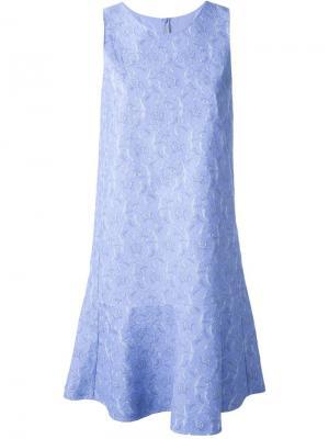Кружевное жаккардовое платье Ermanno Scervino. Цвет: синий