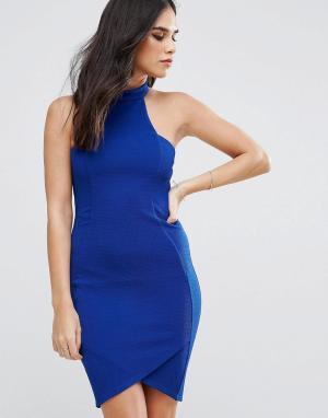 AX Paris Платье миди из крепа. Цвет: синий
